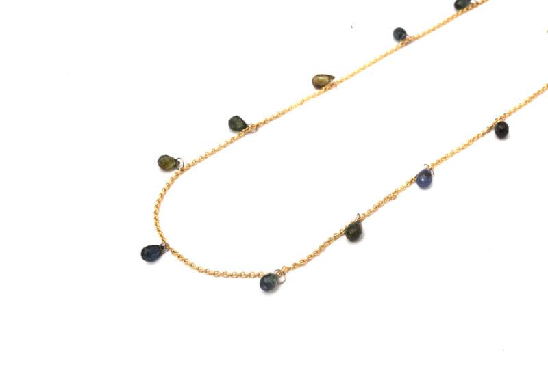 Gelbgoldkette mit Saphirpampeln