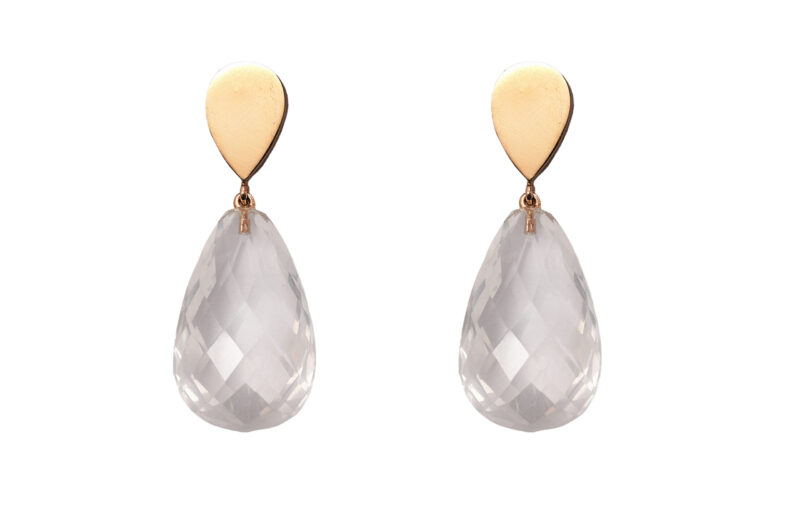 Ohrgehänge aus Weißgold mit Bergkristall