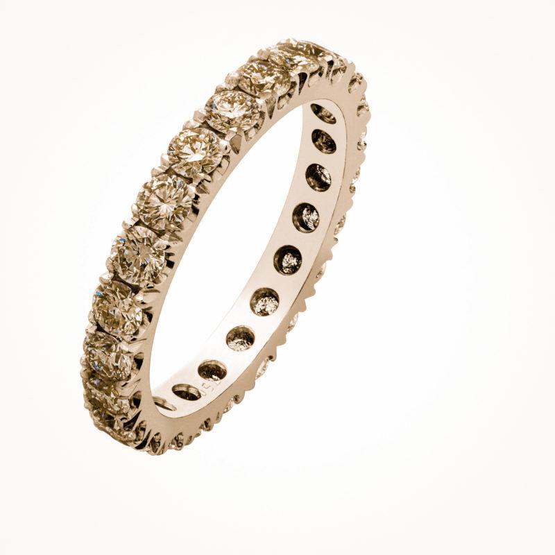 Memoire Ring aus Rotgold mit braunen Diamanten